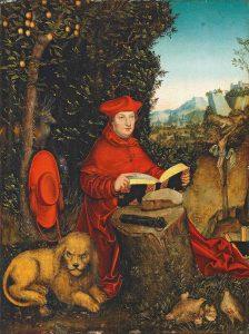 Albrecht von Brandenburg, Ausschnitt aus: Kardinal Albrecht von Brandenburg als Heiliger Hieronymus (Lucas Cranach der Ältere 1527); Wikipedia gemeinfrei
