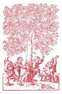Tanz unter der Linde, Foto aus: Hieronymus Bock: New Kreütter Buch. Straßburg 1539, S. 27.