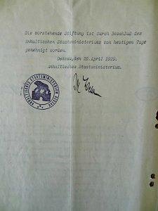 Genehmigungsvermerk des Anhaltischen Staatsministeriums für die Amalie Meyer-Altersheimstiftung vom 29.April1929; Stadtarchiv Nienburg/ Saale