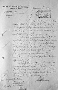 Genehmigung der Adolf Meyer-Stiftung durch die Herzöglich Anhaltische Regierung, 12. Januar 1916; Stadtarchiv Nienburg