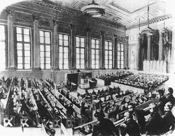 Konstituierende Sitzung der Preußischen Nationalversammlung in der Sing-Akademie zu Berlin 1848, in: Illustrierte Zeitung, Berlin 1848, XI. Band, Nr. 265. Foto: Wikipedia, Sing-Akademie, Preuß. Nationalversamml.