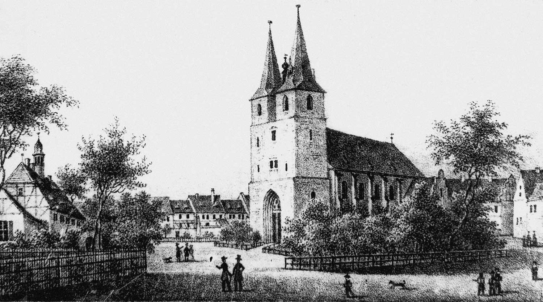 St.-Stephani-Kirche und Kirchplatz in Calbe/Saale um 1850; Foto Heimatstube Calbe/ Saale