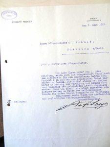 """Letzte Seite der von Adolf Meyer unterzeichneten """"Stiftungsurkunde"""", Bern, 22. Februar 1929; Stadtarchiv Nienburg/ Saale"""