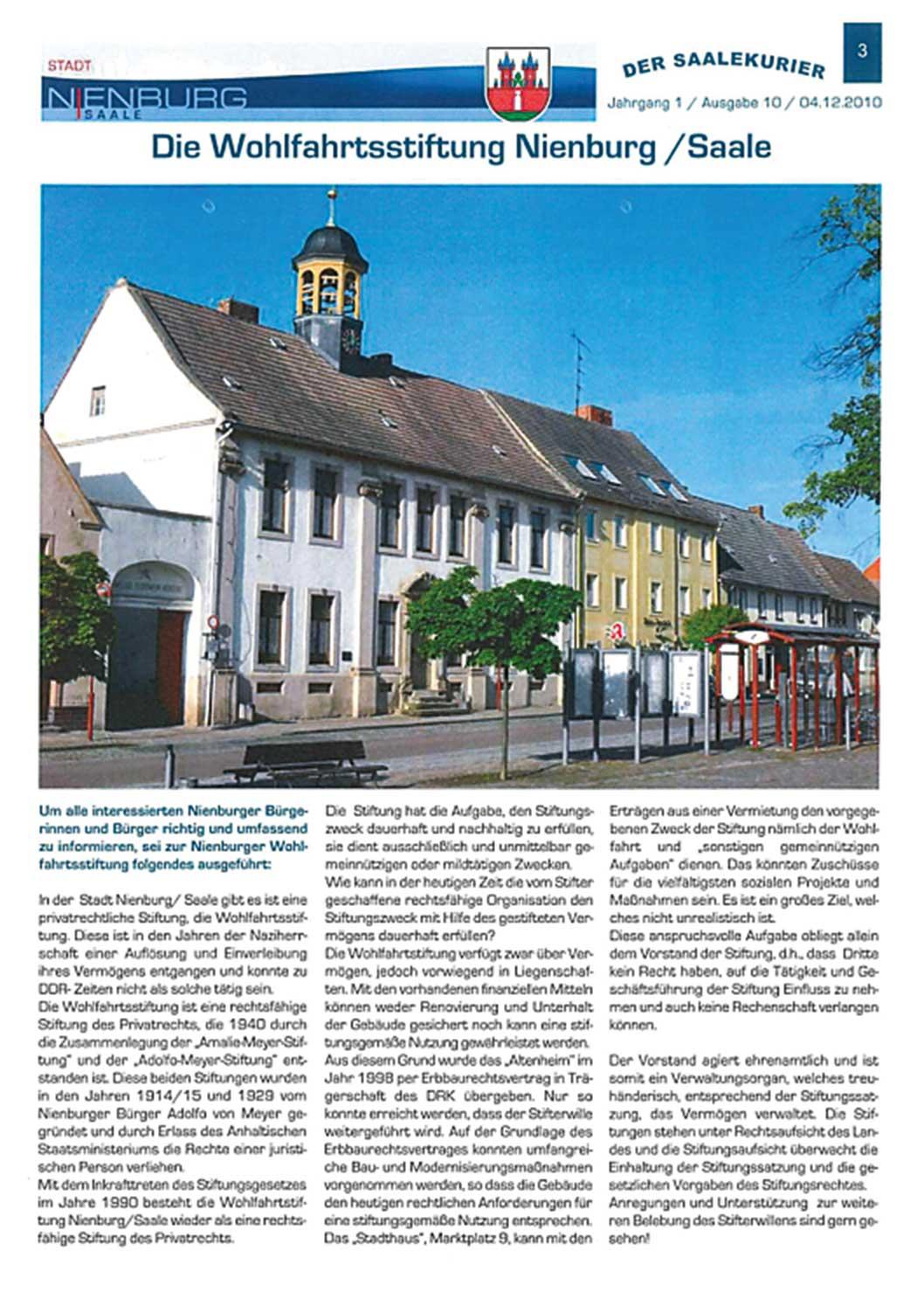 Vorstellung der Wohlfahrtsstiftung Nienburg (Der Saalekurier, H. 10/2010)