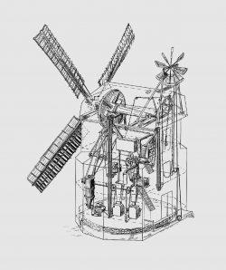 Bild 2: Aufbau der Windmühle Parey. Abbildung: T. Neitzel