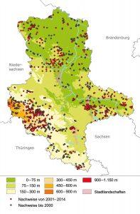 Verteilung der Blindschleichenfundpunkte auf die verschiedenen Höhenstufen Sachsen-Anhalts (Abb. aus: Buschendorf 2016)