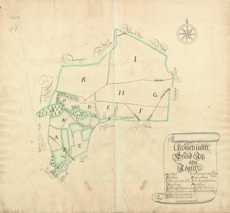 """""""Geometrischer Grund Riß Röglitz. Die Weinberge"""". O kennzeichnet in der Kartenmitte die Dorflage mit Gärten, flankiert rechts und links von den Weinbergen L. Der Weinberg links im Bild wird der """"Lange Weinberg"""" genannt, rechts im Bild """"Der Mönchs- oder der Kelterberg"""". LHASA, Signatur: Slg.1, AXa Nr.1b Bd.3, Bl. 52"""