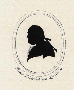 Bisher einzig bekanntes Porträt (Scherenschnitt) von Zanthier aus dem Forst-Archiv zur Erweiterung der Forst- und Jagd-Wissenschaft und der Forst- und Jagdliteratur, hrsg. v. Gottfried von Moser, Bd. 9 (1790); Aus:  G. v. Moser, Forst-Archiv, Bd. 9 (1790)