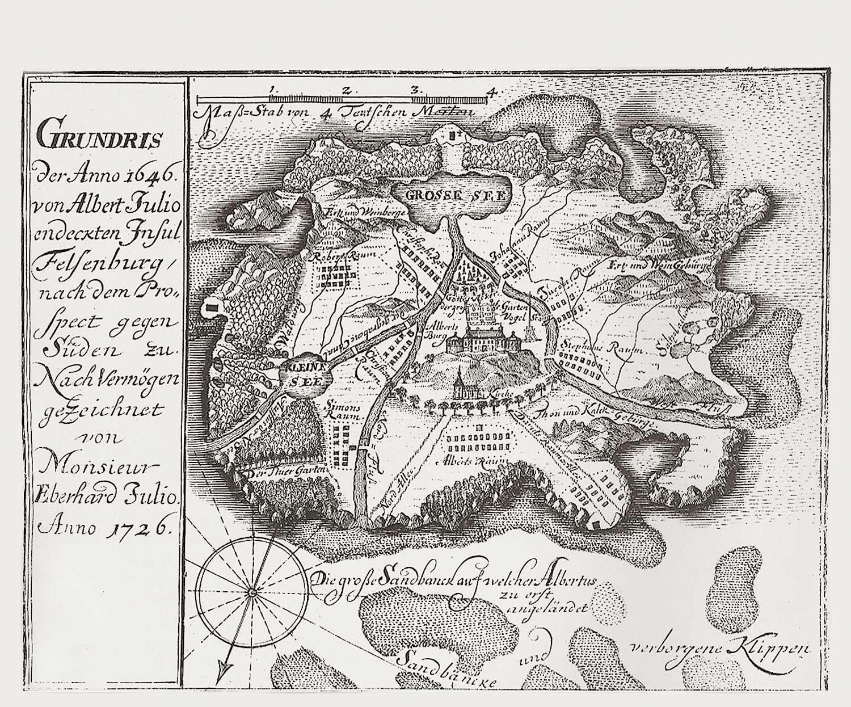 Karte der Insel Felsenburg, 1731, gemeinfrei https://de.wikipedia.org/wiki/Insel_Felsenburg#/media/File:Insel_Felsenburg_map.jpg