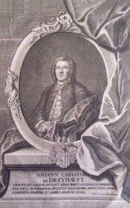 Johann Christoph von Dreyhaupt (1699–1768), Kupferstich von Gründler 1750, Sammlung Walter Müller