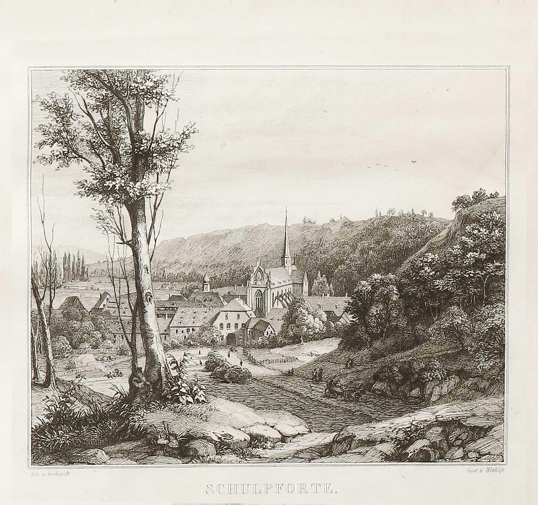 Gesamtansicht von Schulpforta, Lithographie von Witthöft um 1838, Sammlung Walter Müller
