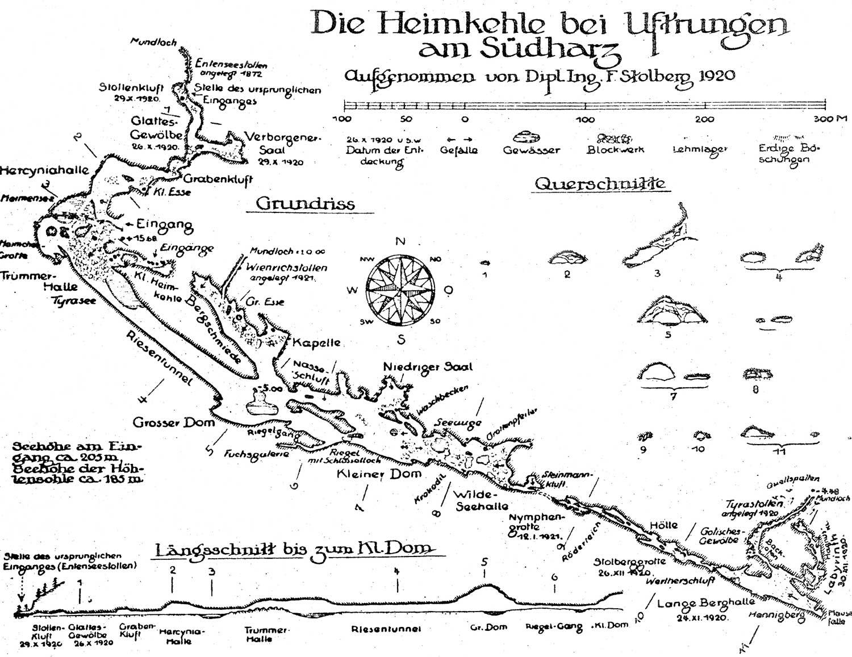 Höhlenplan der Heimkehle von F. STOLBERG (1920); Archiv der Höhle Heimkehle