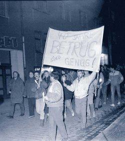 Herbst 1989 in Sangerhausen. Foto: Archiv Verein für Geschichte von Sangerhausen und Umgebung e. V.