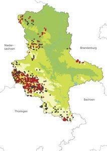 Verbreitung des Bergmolchs in Sachsen-Anhalt - Abb.: Landesamt für Umweltschutz Sachsen-Anhalt.