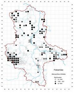 Rasterkarte Fieberklee| Auszug aus der Datenbank Blütenpflanzen, Teil Sachsen-Anhalt. Die Datenbank im Landesamt für Umweltschutz Sachsen-Anhalt hat freundlicherweise den Abdruck erlaubt.