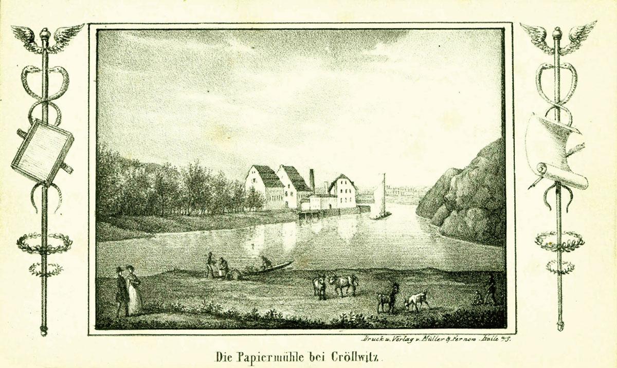 Die Papiermühle bei Cröllwitz, Stadtarchiv Halle (Saale).