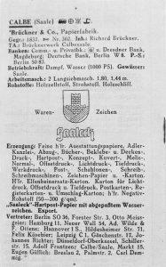 Bild 11 Eintrag in ein europäisches Adressverzeichnis. Sammlung Heimatstube Calbe (Saale).