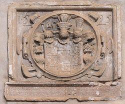 Bild 3 Wappenstein am Mühlengebäude. Foto: Henry Bergmann.