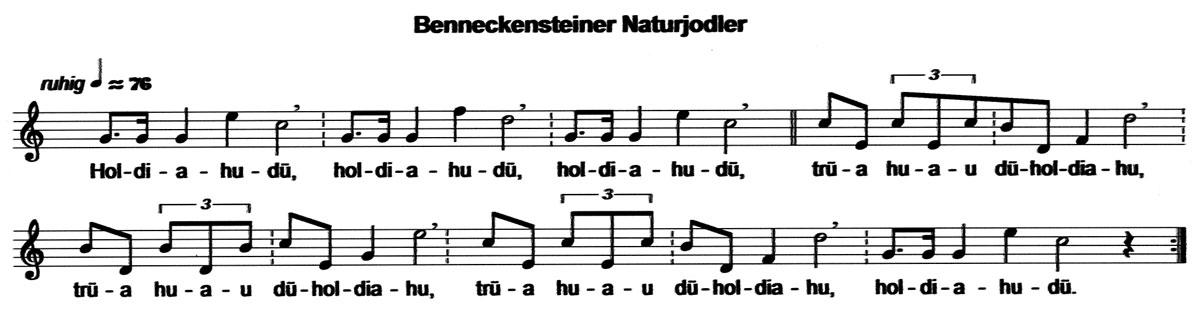 Ein Benneckensteiner Naturjodler. (Notation E. Kiehl 2003)