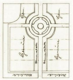 """Skizze zum """"Bauerngarten"""" 1986 (Reinhard Heller, Archiv FLM Diesdorf): Wegekreuz und Rondell gliedern die Gartenfläche in vier Bereiche."""