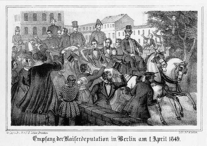 Empfang der Kaiserdeputation in  Berlin am 1. April 1849,Lithographie von C. G. Lohse. Wikimedia Commons CC0 1.0, Bilder­revolution0428.jpg