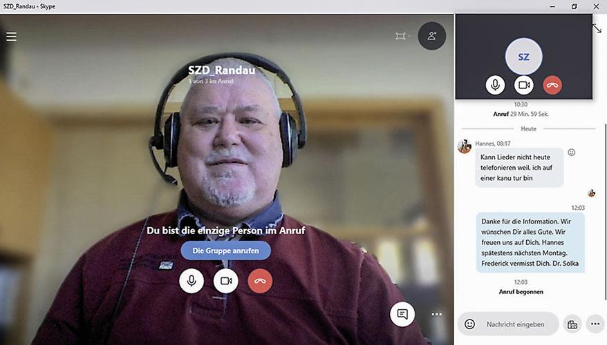 Dr. Solka im Videochat, Mai 2020. Foto: H.-C. Solka