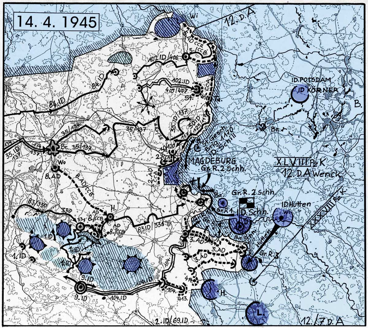 Das Vorrücken der amerikanischen Truppen auf Magdeburg vom 14. April 1945. Grafik: H. Menzel