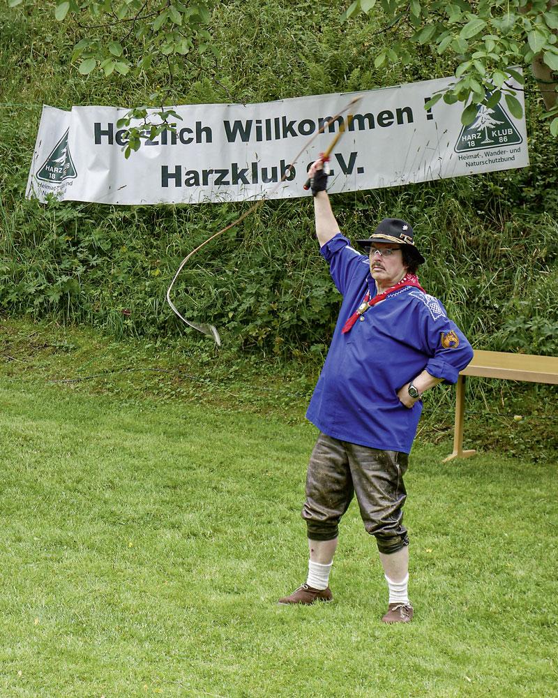 Peitschenknallen auf dem Harzer Heimattag 2019. Foto: L. Wille