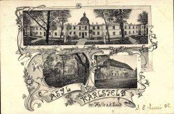 Der Erweiterungsbau, noch zweigeschossig mit Kuppel in der Mitte (Ansichtskarte von Mai 1905, Ausschnitt, Sammlung, Günther Döring