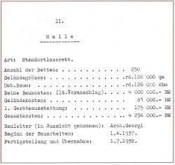 Luftwaffenlazarett (Datenplan 1938, aus: Peter R. Pawlik: Von Bergedorf nach Germania. Hermann Distel 1875–1945. Ein Architektenleben in bewegter Zeit.  Verlag Murken-Altrogge, Herzogenrath 2009).