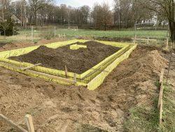 Fundamentarbeiten am neuen Standort der Kirche im Winter 2019 Foto: FLM Diesdorf