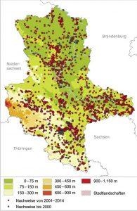 Höhenverbreitung der Zauneidechse in Sachsen-Anhalt. Karte: Landesamt für Umweltschutz Sachsen-Anhalt
