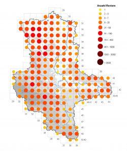 Verbreitung der Turteltaube in Sachsen-Anhalt in den Jahren 2005 bis 2009 auf Basis von Blättern der Topografischen Karte 1:25.000. Abbildung: Staatliche Vogelschutzwarte Sachsen-Anhalt