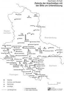 Sachsen-Anhalt: Zielorte der Anschreiben mit Bitte um Unterstützung. IfL 2020, H.P. Brogiato, R. Schwarz