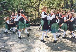 Die Jugend der Heimatgruppe Wolfshagen tanzt die Kreuzpolka. Foto: L. Wille