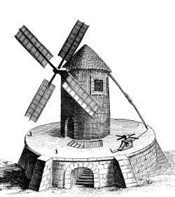 Bild 2 – Windmühle –  Physique Pneumatique, Kupferstich von Bernard: Aus: Diderot/D'Alembert, 1760; Slg. H. Bergmann, Köthen, bearbeitete enzyklopädische Darstellung des 18.Jahrhunderts