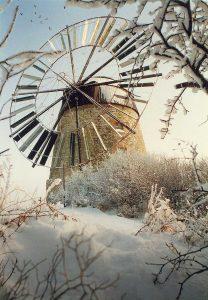 Bild 13: Windmühle Eckartsberga mit Windrad (historische Darstellung); Sammlung Herbert Riedel, Zeitz