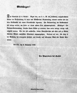 """Flugblatt """"Mitbürger! Das Vaterland ist in Gefahr!"""", 9.11.1848. - Zentrum für Lehrerbildung (ZLB), https://digital.zlb. de/viewer/image/07-5_0190/1/"""