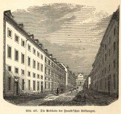 Blick auf das Pädagogium der Franckeschen Stiftungen  im Hintergrund, wo Echtermeyer wirkte, Holzstich um 1860. Sammlung Dr. Walter Müller