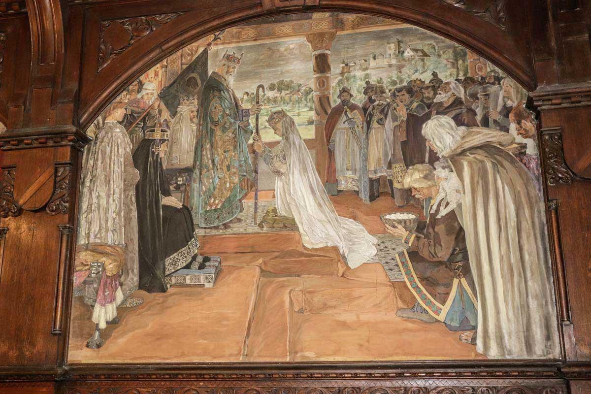 Weihe Mathildes zur Äbtissin von Quedlinburg 966. Historienwandgemälde von Otto Marcus im Ratssaal Quedlinburg, um 1900. Foto: Brigitte Schmidt, Welterbestadt Quedlinburg