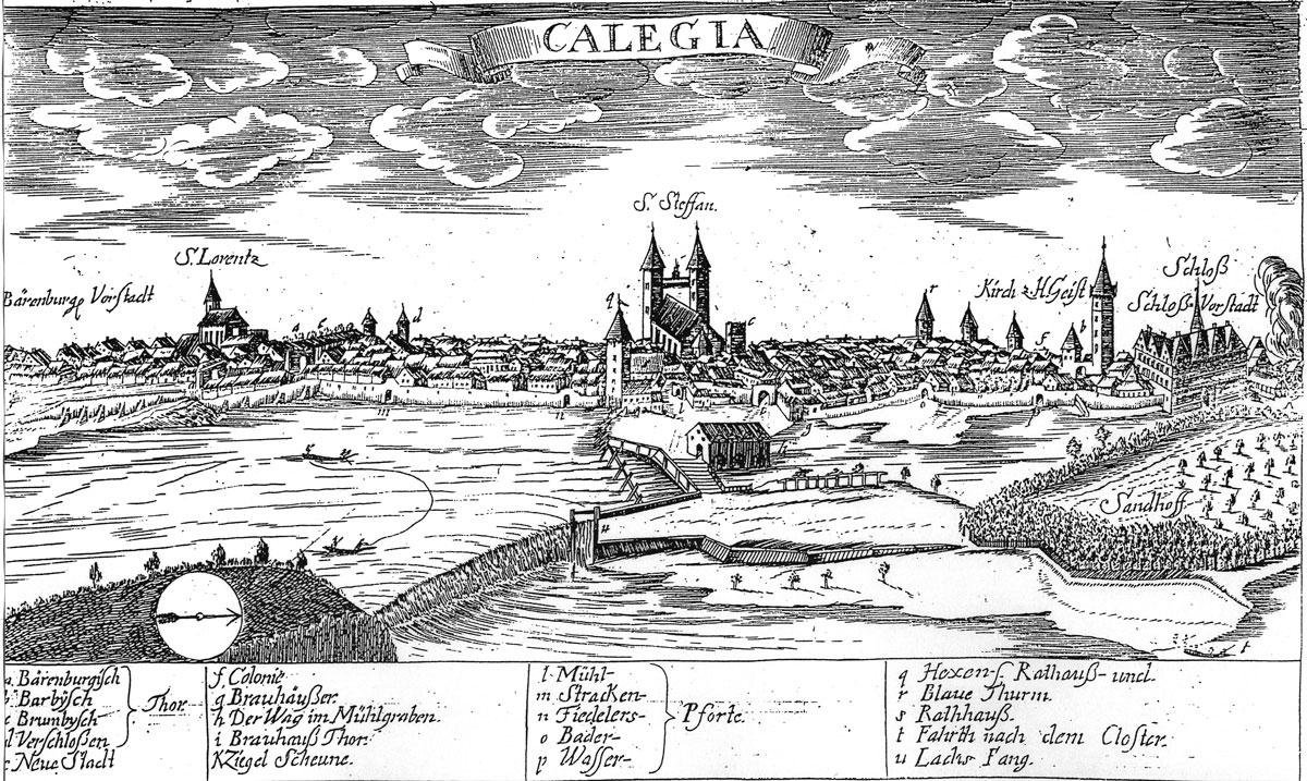 Bild 1 Wehranlage zu Beginn des 18. Jahrhunderts   Kupferstich aus: Johann Heinrich Hävecker: Chronica und Beschreibung der Städte Calbe,  Acken und Wantzleben… Halberstadt 1720.