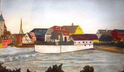 Bild 5 Die Saalemühle um 1830 (Aquarell). Sammlung Heimatstube Calbe (Saale).