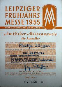 Messeausweis 1955. Archiv M. Lüders.