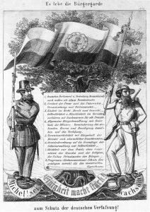 Es lebe die Bürgergarde zum Schutz der deutschen Verfassung, Lithographie1849, unbekannter Urheber. Wikimedia Commons CC BY-SA 3.0, Bilderrevolution0080.jpg