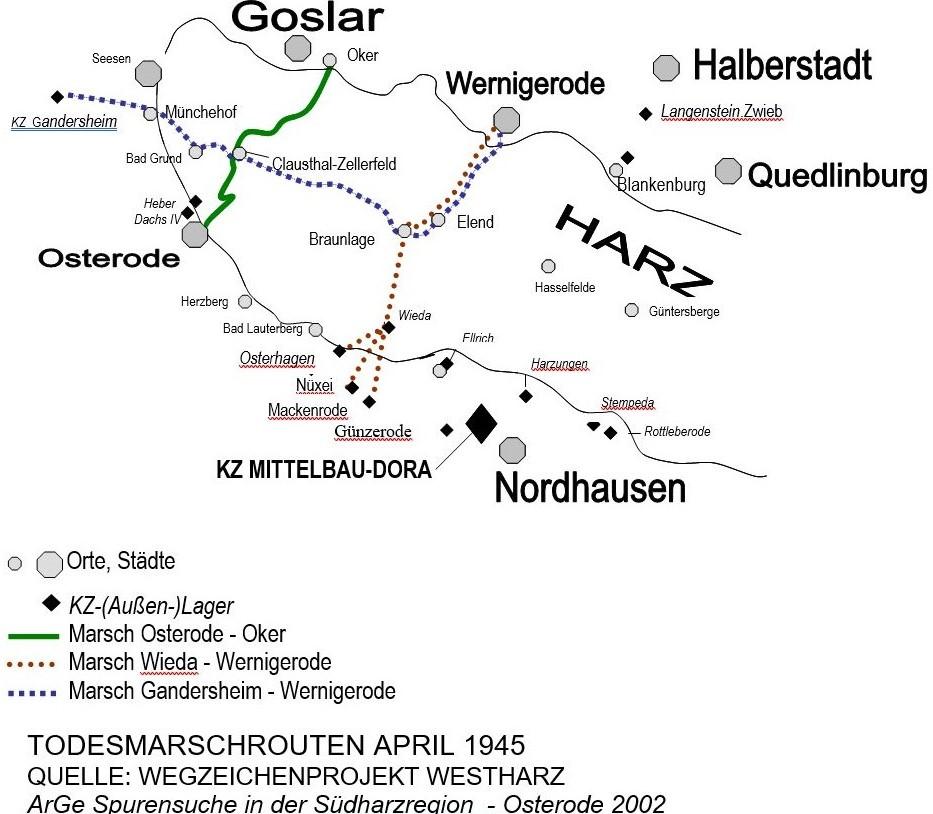 Todesmarschrouten über den Harz im April 1945. Karte: Wegzeichenprojekt Westharz der ArGe Spurensuche in der Südharzregion.