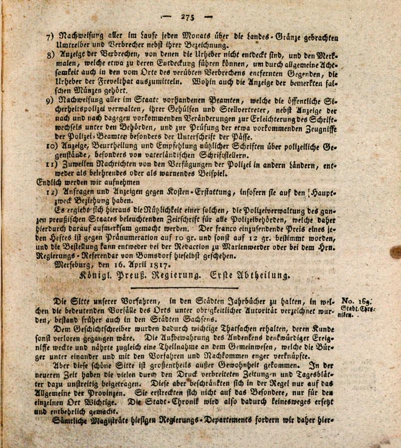 Amts-Blatt der Königlichen Regierung zu Merseburg, 1817, 21. Stück, S. 275; Merseburg, 24. Mai 1817. Bayerische Staatsbibliothek München, 4 Bor. 103 o-1817, S. 293 f., urn:nbn:de:bvb:12-bsb10001312-6