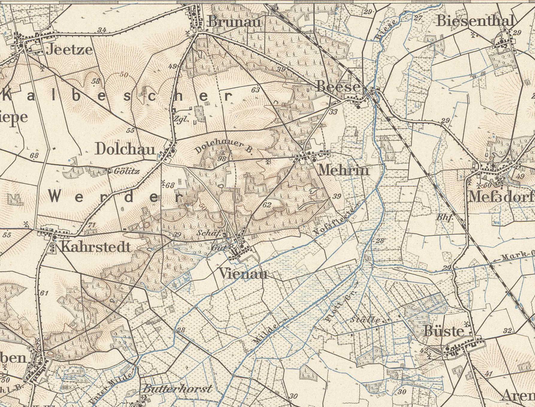 Ab dem Zusammenfluss von Milde und Unterer Milde (Voßfleete) trägt der Fluss den Namen Biese (Meßtischblatt 1753: Kalbe a.d. Milde; Sächsische Landes-, Staats- und Universitätsbibliothek Dresden/Deutsche Fotothek